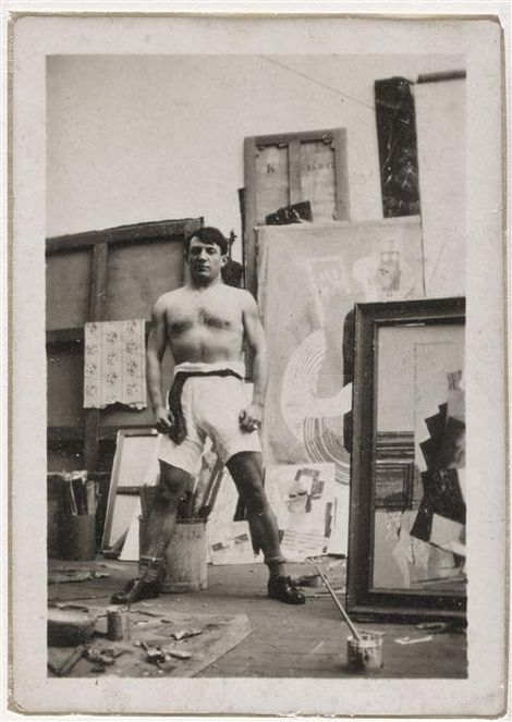 pablo-picasso-autoportrait-torse-nu-en-culotte-de-boxeur